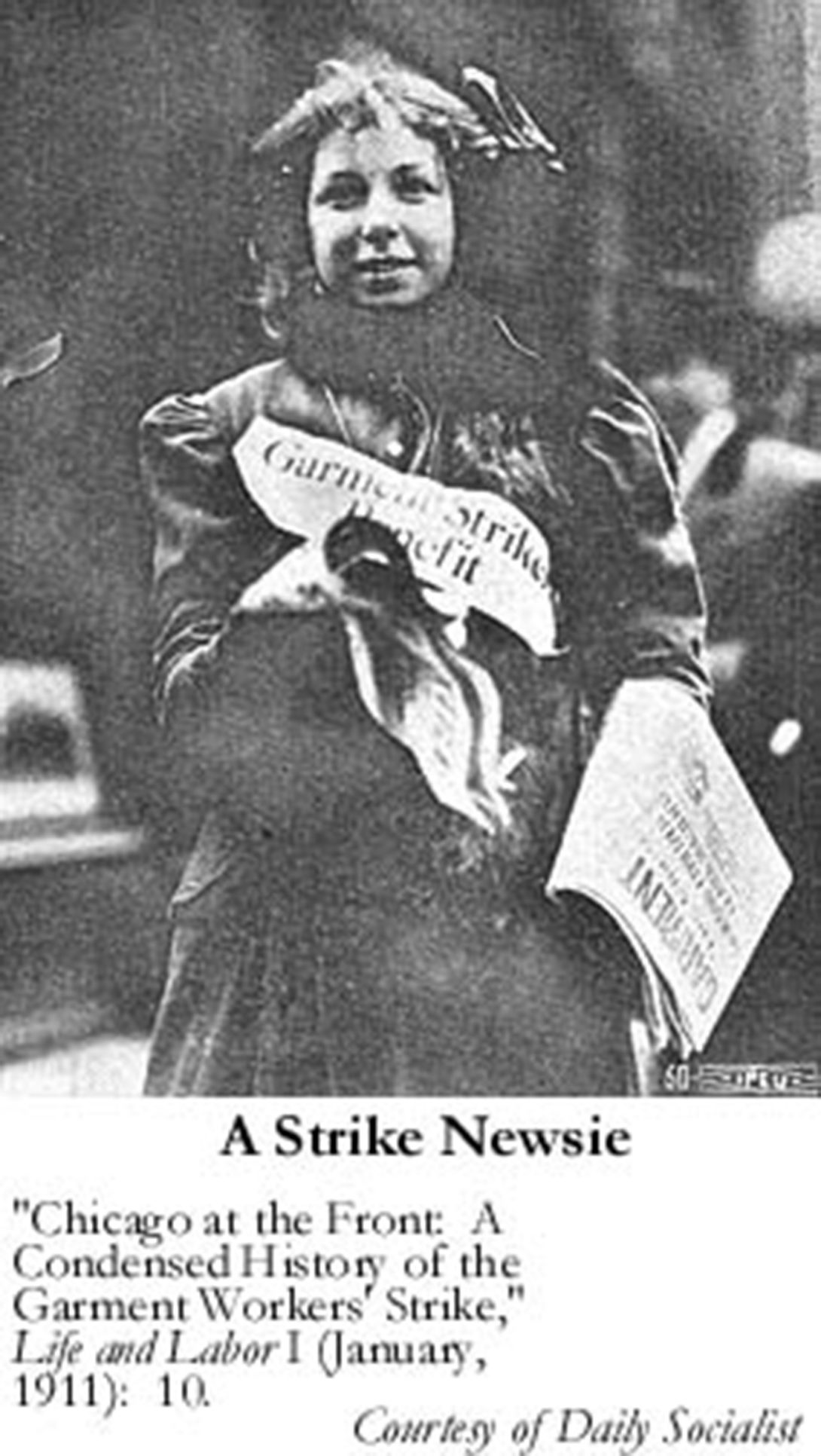 Photo of a young woman selling newspapers with garment strike headline.
